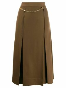 Victoria Beckham chain detail pleated skirt - Brown