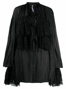 Annamode oversized ruffled shirt - Black
