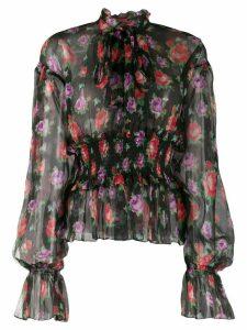 MSGM floral-print silk blouse - Black