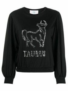 Alberta Ferretti Taurus embellished fine knit top - Black