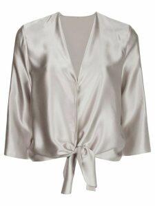 Peter Cohen silk knot detail blouse - SILVER