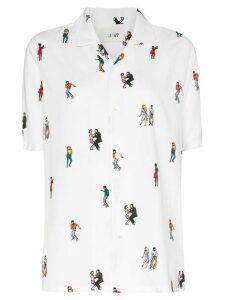 Kirin dancers print bowling shirt - White