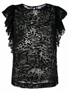 MSGM floral-lace ruffled blouse - Black