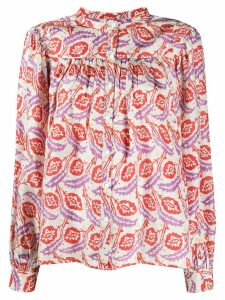 Isabel Marant batik-print gathered blouse - NEUTRALS