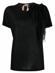 Nº21 tulle brooch T-shirt - Black