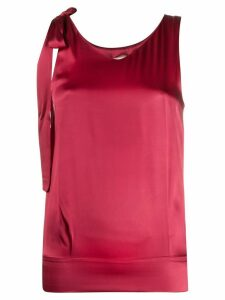 Semicouture tied-straps V-neck top - Red