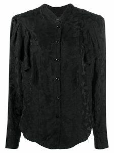 Isabel Marant ruffled geometric-print shirt - Black