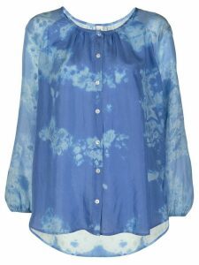 Raquel Allegra silk abstract print blouse - Blue