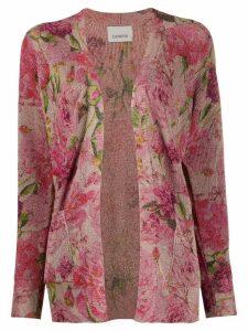 Laneus floral metallic-knit cardigan - PINK