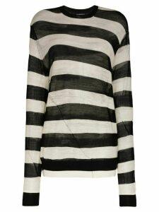 Ann Demeulemeester stripe sheer jumper - Black