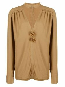 Victoria Beckham v-neck embellished tunic top - Brown