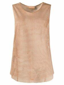 Drome mesh panelled vest top - Brown