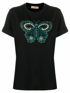 Twin-Set butterfly embroidered round neck T-shirt - Black