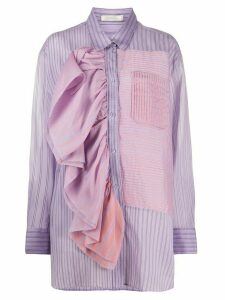 Nina Ricci asymmetric striped shirt - PURPLE