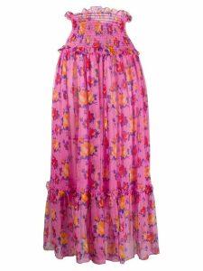 MSGM smocked-waist crinkle-chiffon skirt - PINK