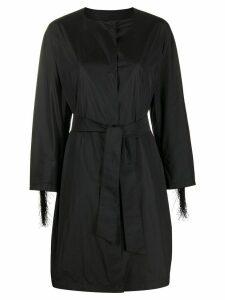 Herno fringe-trimmed belted coat - Black