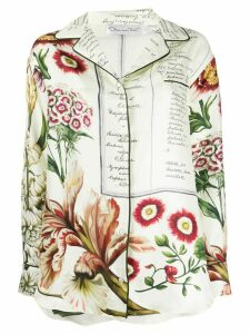 Oscar de la Renta floral calligraphy satin blouse - NEUTRALS