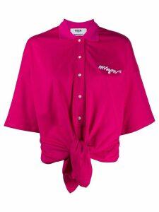 MSGM tie-waist logo polo shirt - PINK