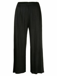 Pleats Please Issey Miyake round neck pleated-detail top - Black