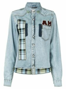 Antonio Marras patchwork embeliished denim shirt - Blue