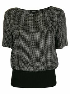 Theory Diamond Print Ribbed Waist blouse - Black
