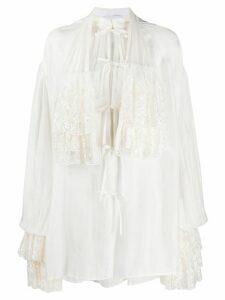 Annamode oversized ruffled shirt - White