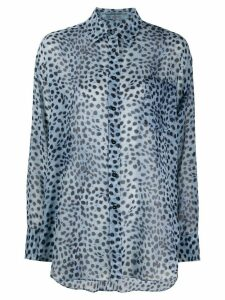 Ermanno Scervino leopard-print silk shirt - Blue