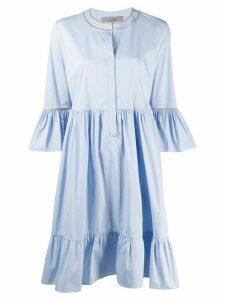 D.Exterior ruffle trim shirt dress - Blue