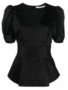 Veronica Beard puff sleeve peplum blouse - Black