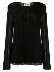 Saint Laurent sequin-embellished layered jumper - Black