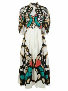 Sara Roka butterfly print shirt dress - White