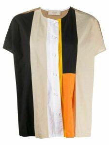 Maison Flaneur patchwork short-sleeved shirt - Brown