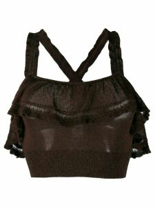 M Missoni ruffle-trimmed knitted top - Brown