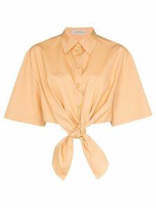 Vika Gazinskaya tie-front cotton shirt - Brown