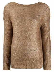 Snobby Sheep embroidered long-sleeve jumper - Brown