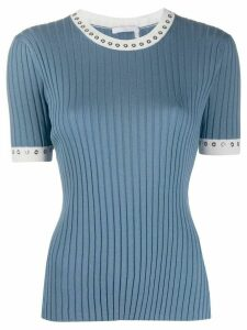 Chloé eyelet-embellished rib-knit top - Blue