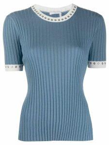 Chloé eyelet-embellished rib-knit top - Blue