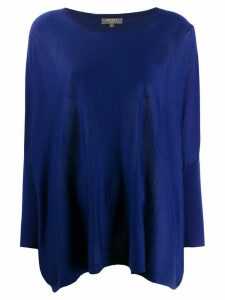 N.Peal round neck cashmere poncho - Blue