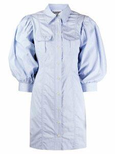 GANNI puff-sleeve striped shirt-dress - Blue