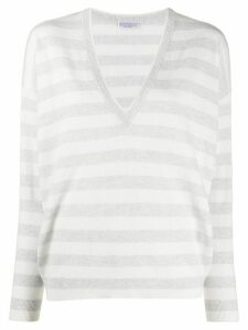 Brunello Cucinelli striped cashmere jumper - White