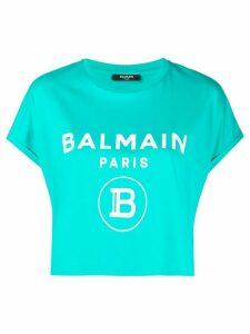 Balmain logo-print cropped T-shirt - Blue
