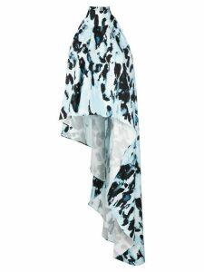16Arlington asymmetric watercolour-print blouse - Blue