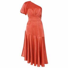 True Decadence True Decadence Baked Rose Satin One Shoulder Midi Dress