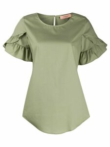 Twin-Set ruffle sleeve curved hem blouse - Green