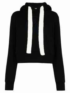 Palm Angels logo-embroidered cotton hoodie - Black