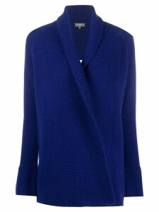 N.Peal ribbed-panel cashmere cardigan - Blue