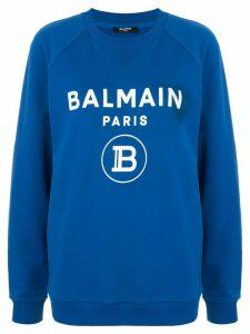 Balmain logo print sweatshirt - Blue
