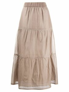 Peserico tiered maxi skirt - Brown