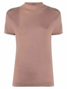 N.Peal mock neck cashmere T-Shirt - Brown