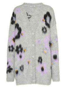 Miu Miu flower intarsia cardigan - Grey